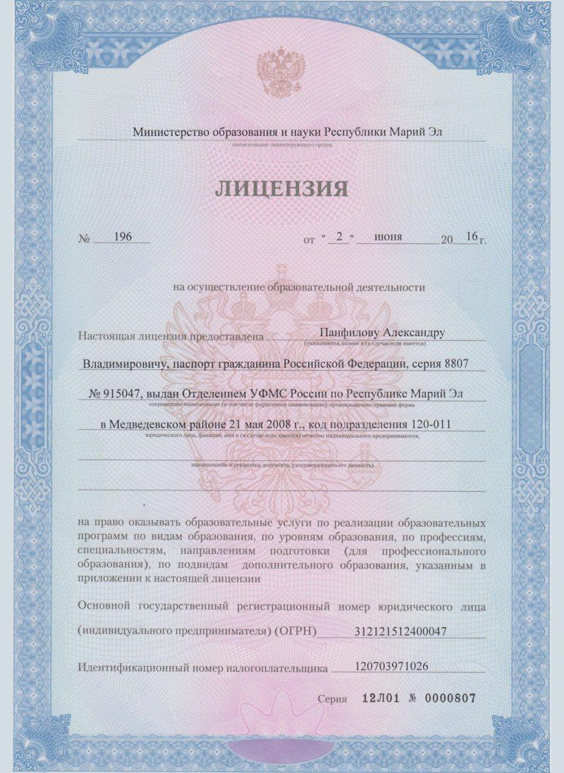 Лицензия на осуществление образовательной деятельности страница 1